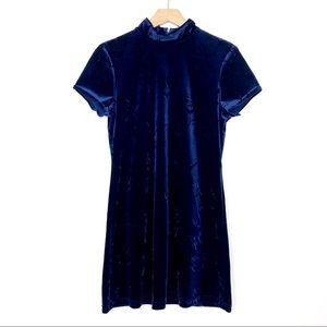 Vintage velvet mini dress mock neck navy blue 90s